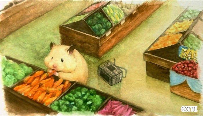 野菜をつまみ食いするハムスター