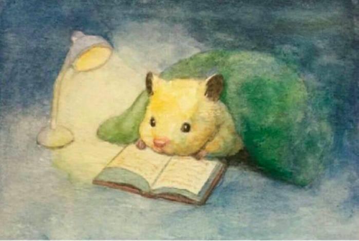 夜更かしして本を読むハムスター
