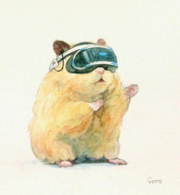 VRを楽しむハムスター