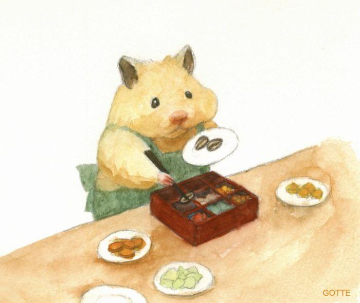 お弁当を作るハムスター