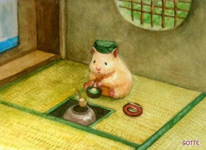 茶室でお茶を点てるハムスター