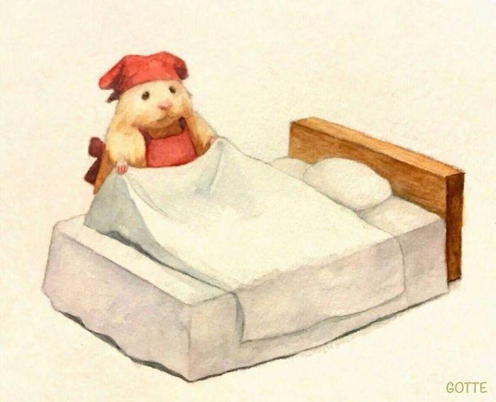 ベッドメイキングするハムスター