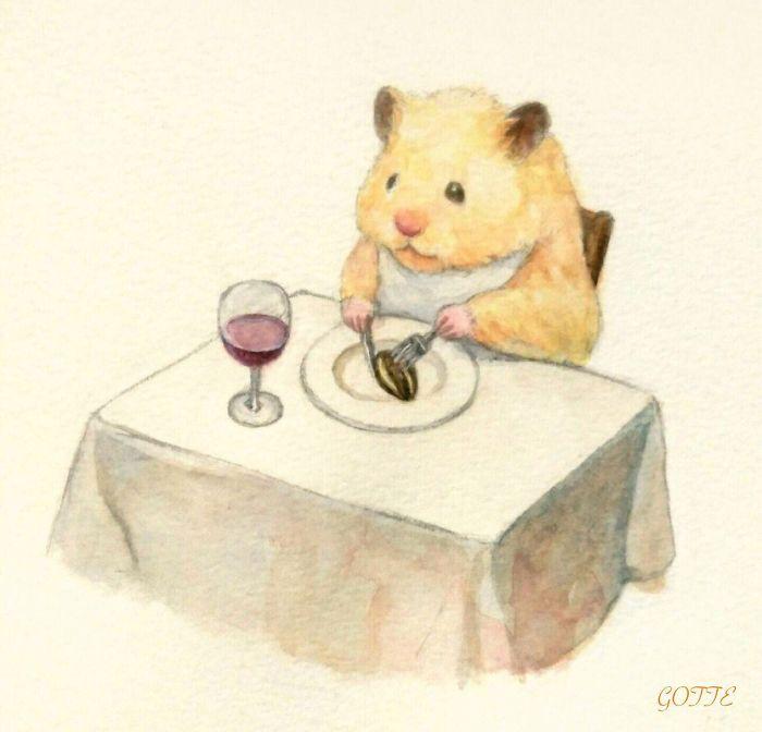 ディナーを食べるハムスター