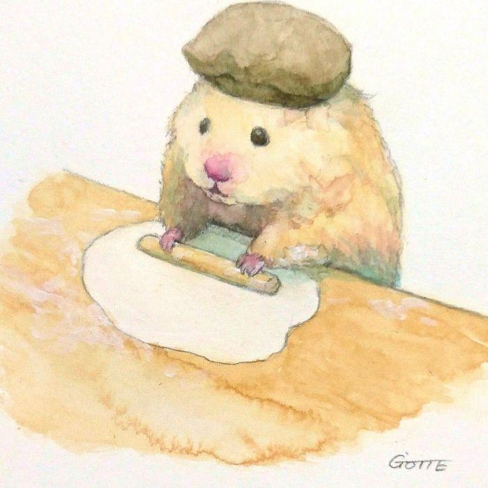 パンを作るハムスター