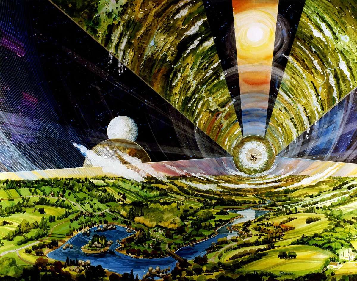 シリンダー型スペースコロニーの内部