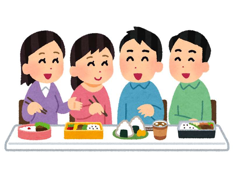 お弁当を食べる日本人