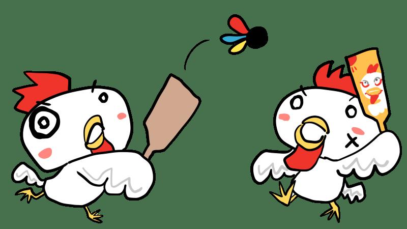 羽子板で遊ぶニワトリ