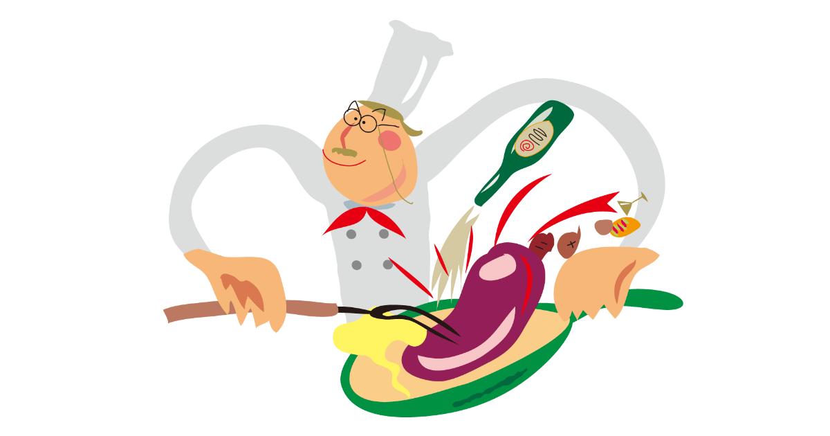料理するシェフ