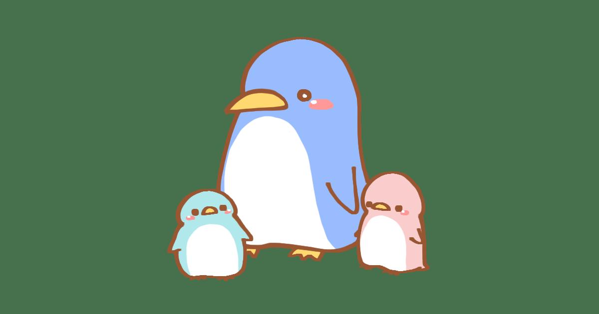 ペンギンとペンギンの赤ちゃん