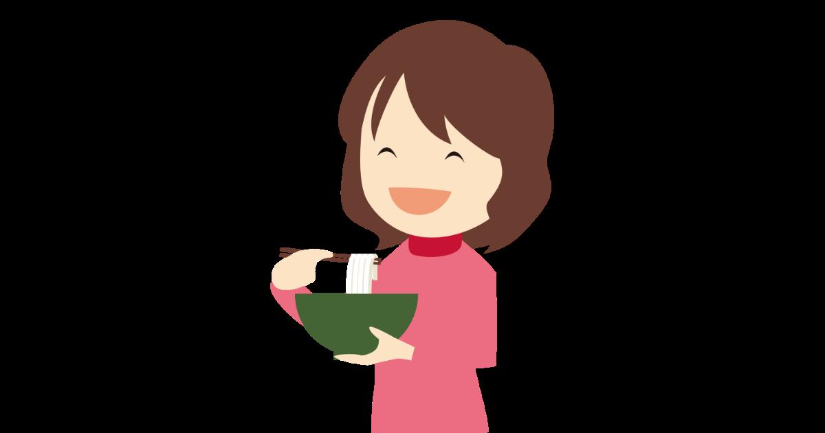 うどんを食べる女性