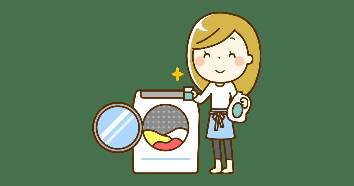 洗濯をする女性(洗濯機)