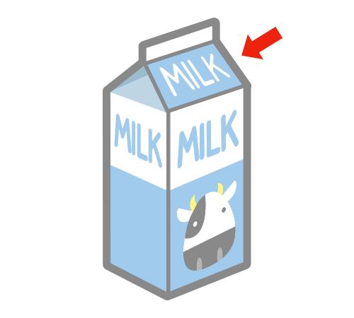 牛乳パックの三角のところ