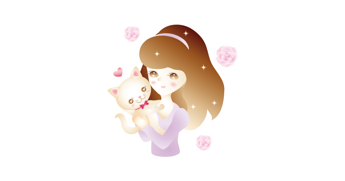 猫を抱くキラキラ女の子