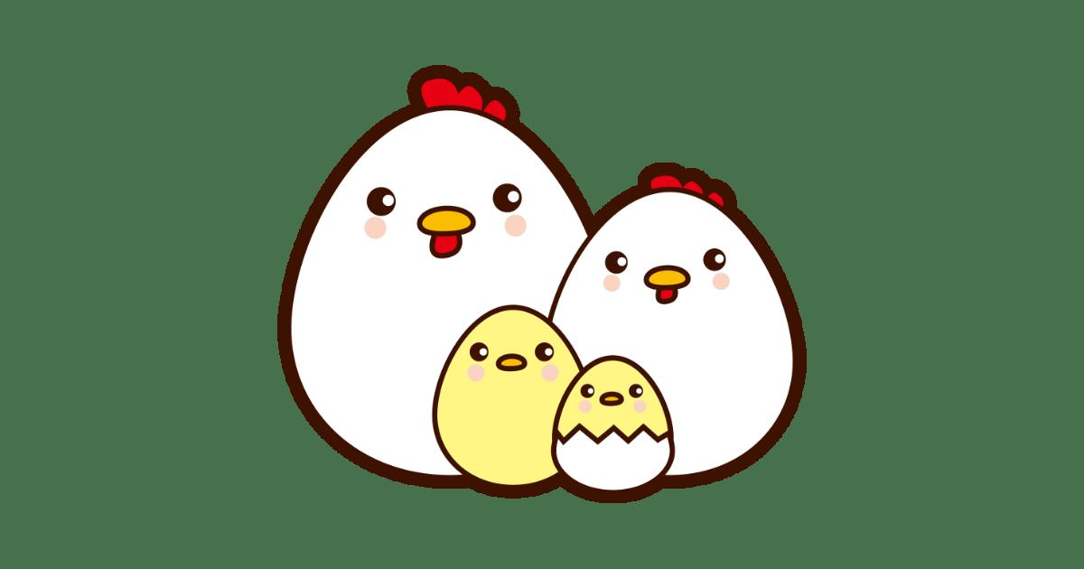 可愛い卵型のニワトリとひよこの家族