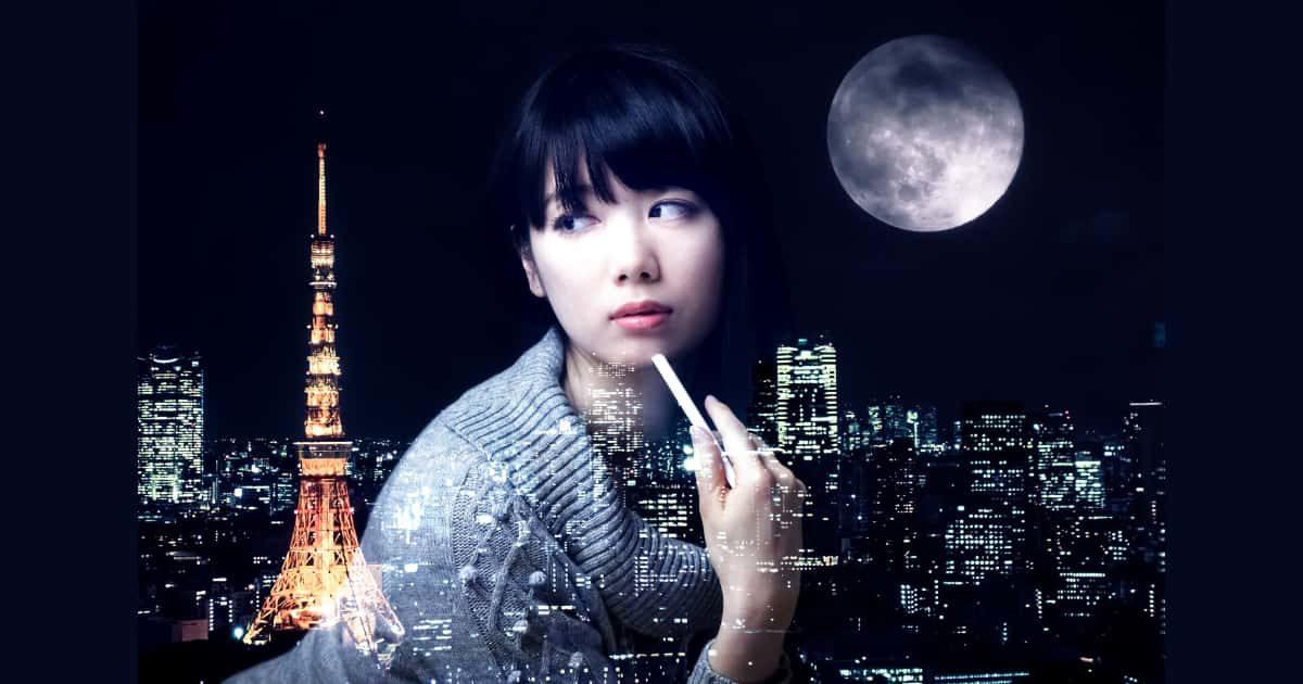 都会の東京と月に合成した美女