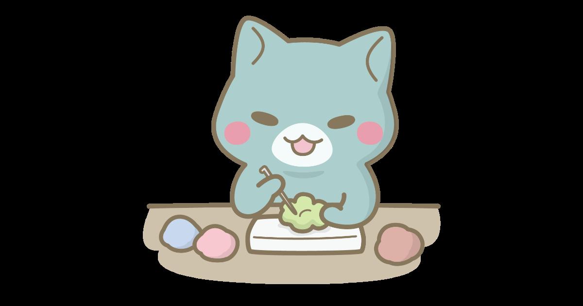 羊毛フェルトを作る猫