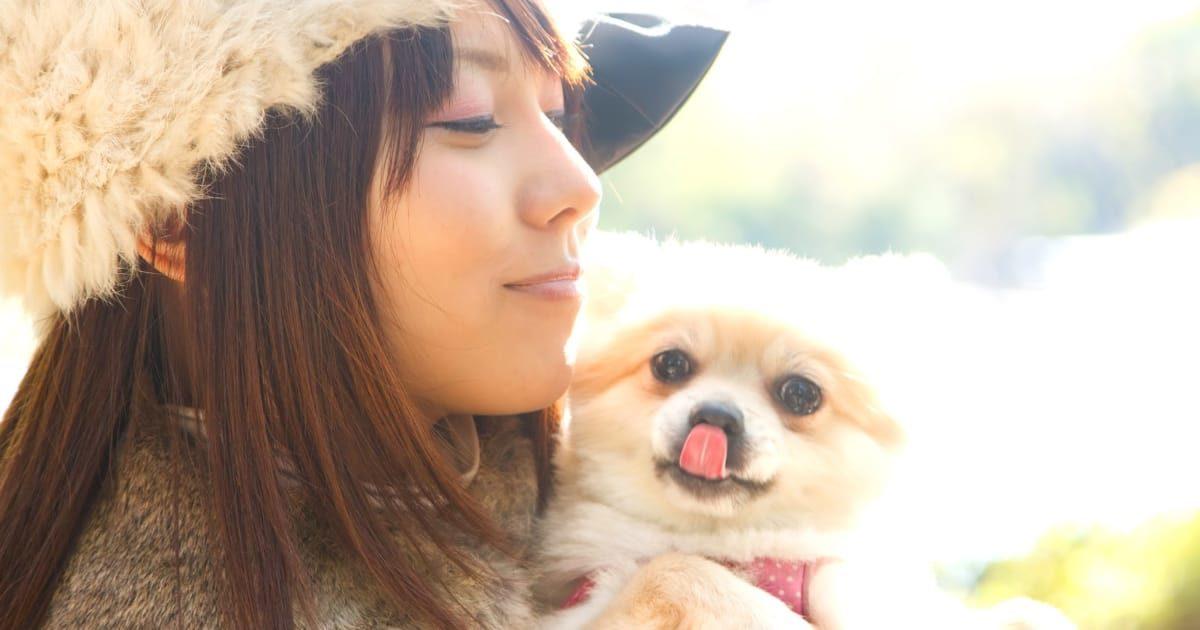 犬を抱く美少女