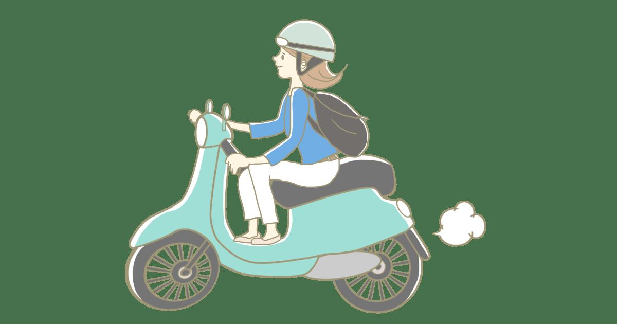 バイク(スクーター)に乗る女性