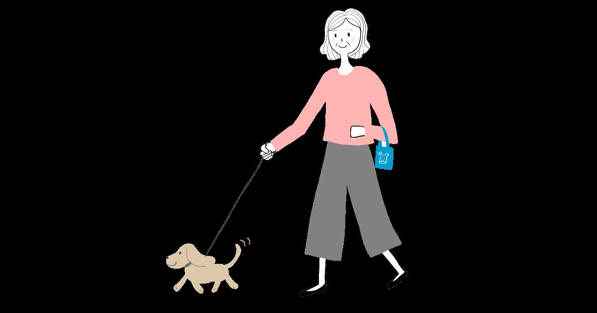 犬の散歩をするお婆ちゃん