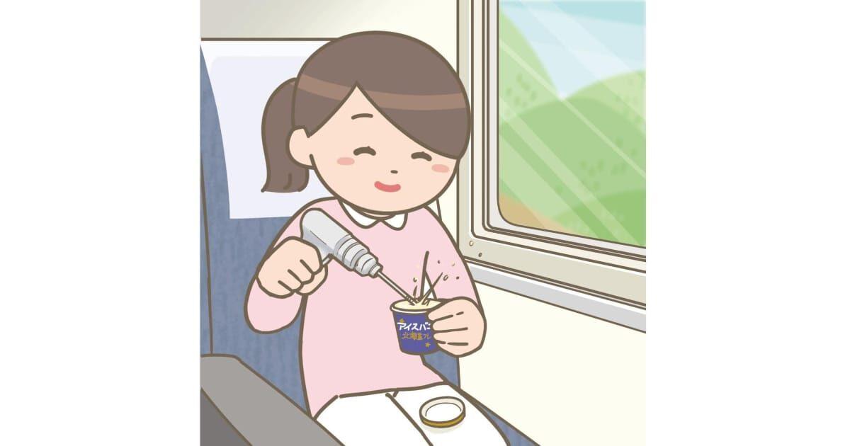 新幹線でシンカンセンスゴイカタイアイスを外科用ドリルで砕く看護師