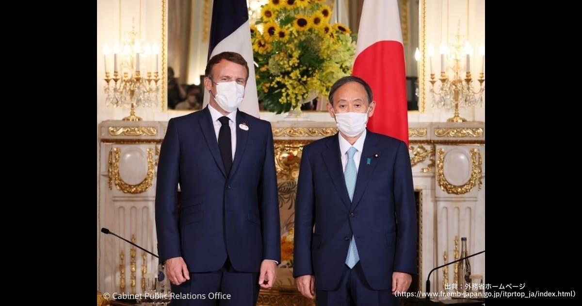 日仏首脳会談で菅首相と会談するマクロン大統領