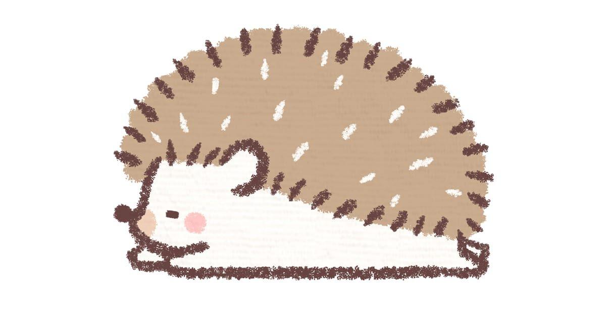 目をつむって寝るハリネズミ