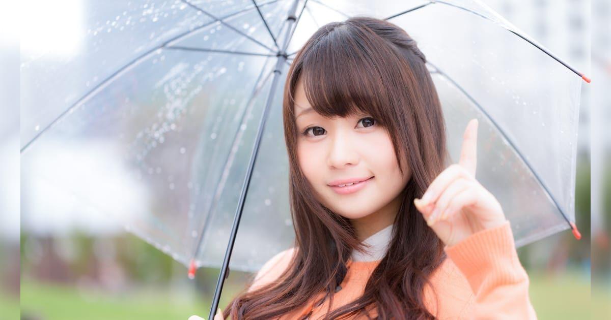 大雨で傘をさす美少女